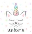 cute unicorn cat meow vector image vector image