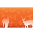 Deer with snow of silhouettes vector image vector image