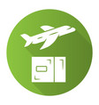delivery plane green flat design long shadow vector image