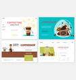 flat coffee time websites set vector image
