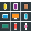 Flat modern colored electronic gadgets vector image vector image