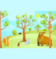 forest summer landscape with animals vector image