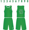 green basketball uniform vector image vector image