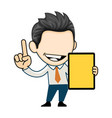 happy businessman showing a tablet business vector image vector image