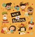 happy children with school equipment back vector image vector image
