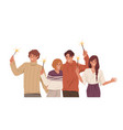 happy people with holiday sparklers in hands vector image vector image