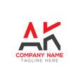 initial ak letter logo design modern business vector image vector image