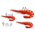 Isolated red shrimp cartoon character vector image