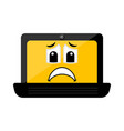 isolated sad laptop emote vector image vector image