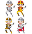 knights in different metal armours vector image vector image