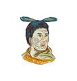 Maori Chieftain Warrior Head Drawing vector image vector image