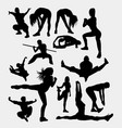 martial art sport silhouette vector image vector image