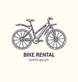 modern linear style bicycle rental logotype vector image vector image