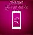 online shopping shopping cart on smartphone vector image