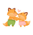 pair lovers humanized foxes vector image vector image