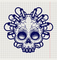 pen sketched monsters skull with dynamite vector image vector image