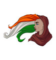 poster of beautiful hindu woman with hair of the vector image