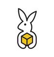 rabbit delivery logo vector image vector image