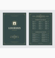 restaurant menu design and label brochure vector image vector image
