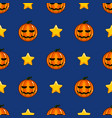 seamless pattern with halloween pumpkin and stars vector image vector image