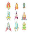 set coloring childish spacecraft icons linear vector image