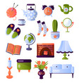 set of furniture and interior items all the vector image