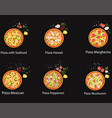set pizza with different ingredients flat vector image