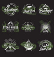 set vintage barbecue emblems logos vector image