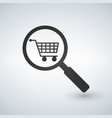 shopping cart and magnifying glass icon modern vector image