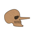 skull pinocchio wooden skeleton head isolated on vector image vector image