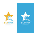 star and loupe logo combination leader and vector image vector image
