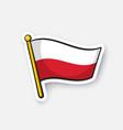 sticker flag poland on flagstaff vector image