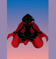 superheroine meditating background silhouette vector image