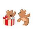 two bears and gift wrap design vector image vector image