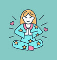 smiling girl in padmasana yoga line logo icon of vector image