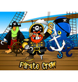 Pirate crew with the Captain on a ship deck vector image