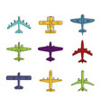 airplane icon set color outline style vector image