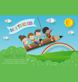 back to school children flying on pencil vector image vector image