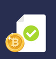 bitcoin for approved document background isolated vector image