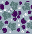 blackberries leaves flowers seamless pattern vector image vector image