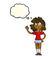 cartoon worried woman waving with thought bubble vector image vector image