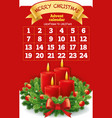 christmas advent calendar with wreath candles vector image vector image