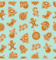 christmas seamless pattern with gingerbread vector image