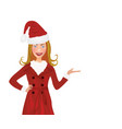 christmas woman with santa hat and red coat vector image vector image
