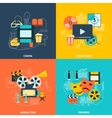 Cinema flat icons composition vector image