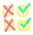 color highlight marker check marks doodle bright vector image