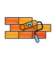construction wall brick roller paint color repair vector image
