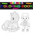 cute boy and zebra coloring book vector image
