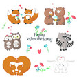 cute happy animals couples isolated vector image vector image