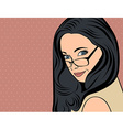 cute retro woman with long hair in comics style vector image